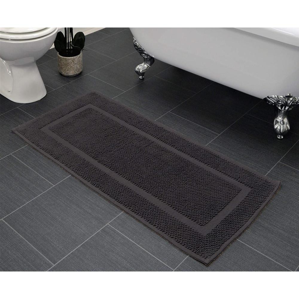 Cotton Bath Mat Runner in Charcoal Grey