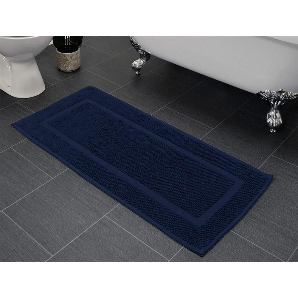 Cotton Bath Mat Runner in Navy Blue