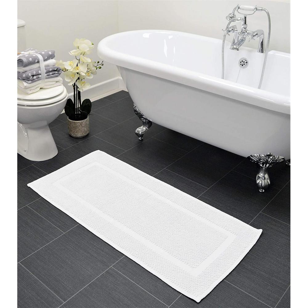 Cotton Bath Mat Runner in White