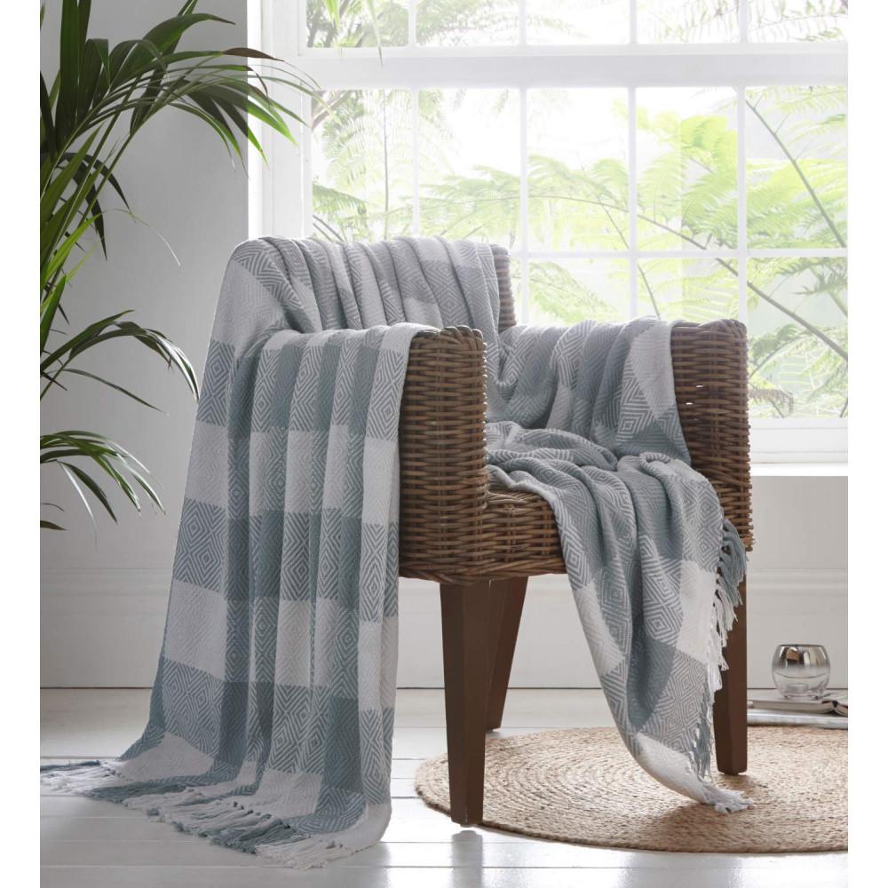100% Cotton Check Design Throw Grey & White