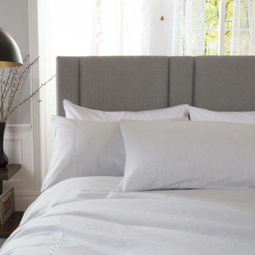 100% Slubbed Cotton Pale Grey Linen Look Duvet Cover Set