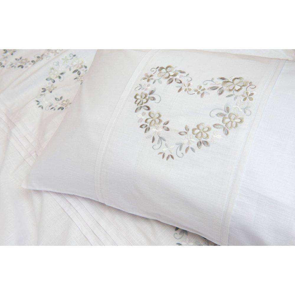 100% Cotton White Heart Design Duvet Cover Set