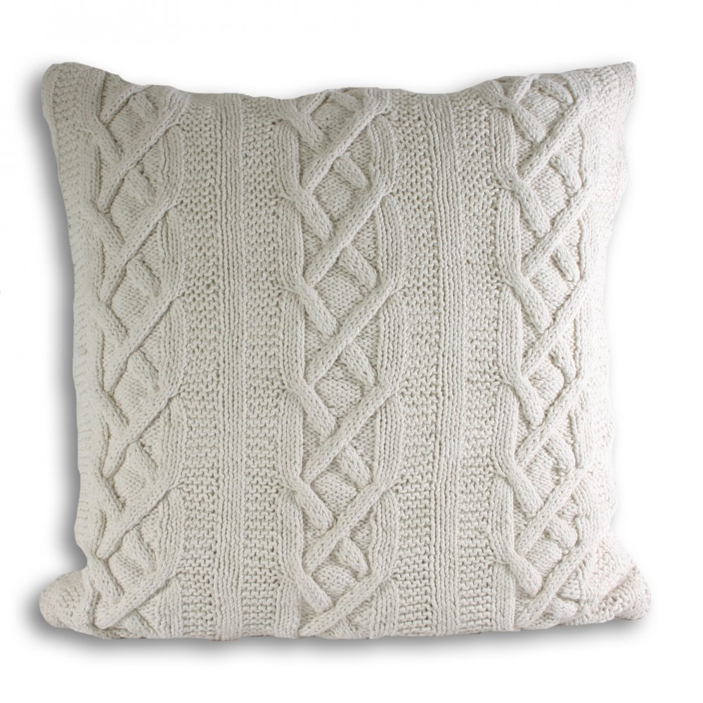 100% Cotton Aran Hand Knit Cable Style Cushion Cover or Throw