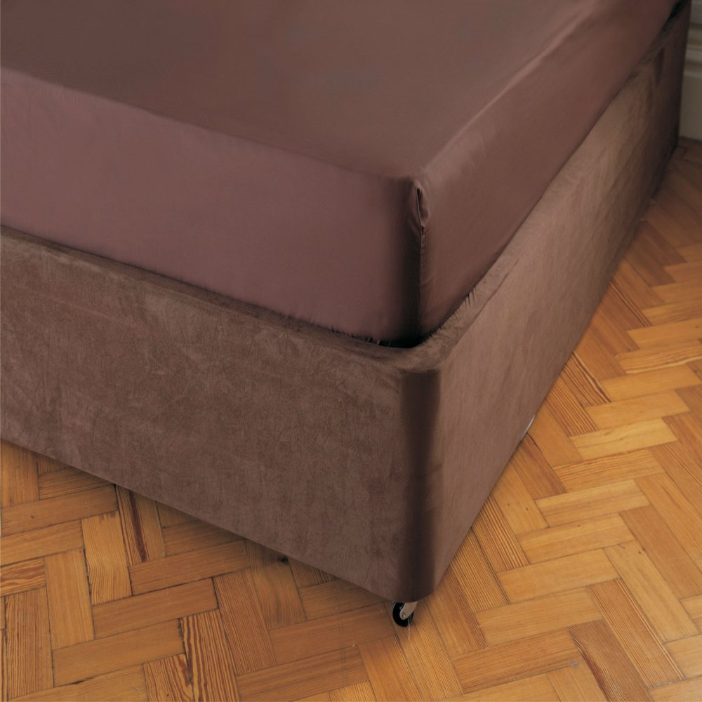 Faux Suede Divan Bed Base Wrap in Chocolate Brown