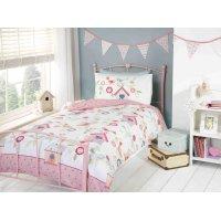 Birdhouses Pink Duvet Cover Set