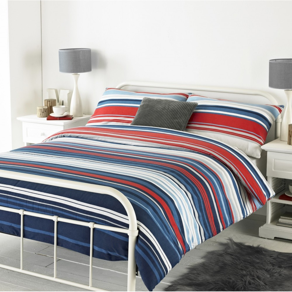 Lymington Red White Amp Blue Striped Brushed Cotton Duvet