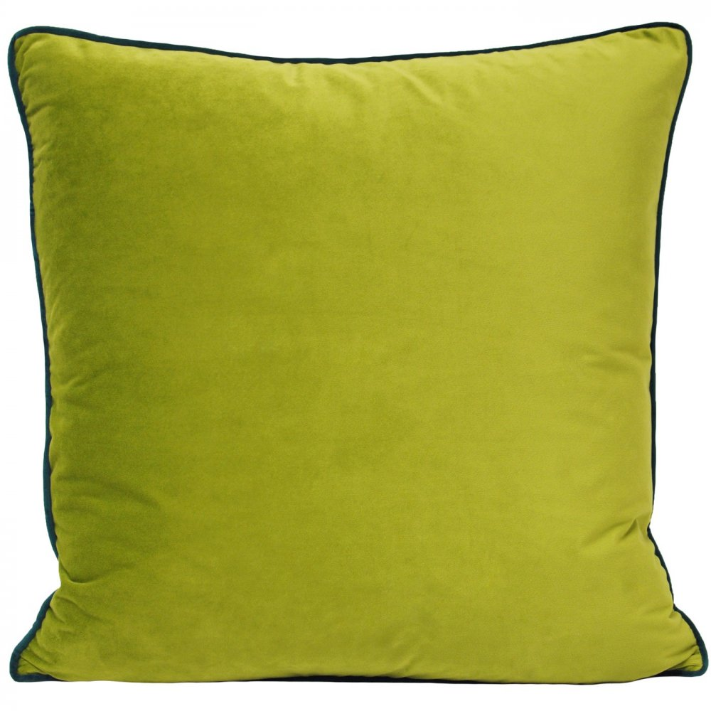 Large Luxury Velvet Cushion Contrasting Piped Edge