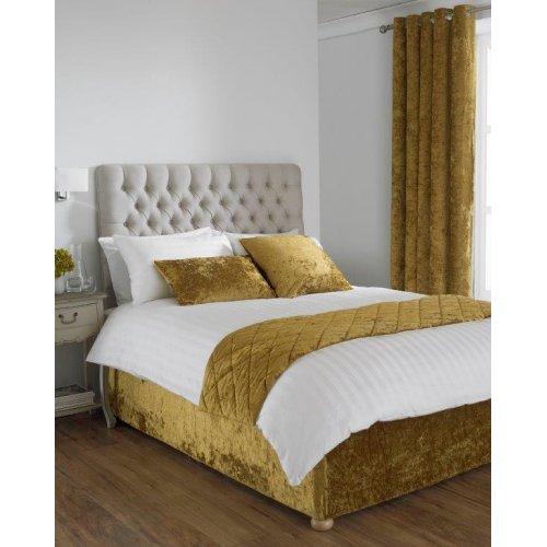Crushed velvet divan bed base wrap in ochre yellow for Divan bed sheet