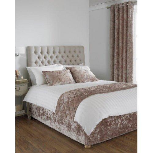 Crushed velvet divan bed base wrap in oyster for Divan bed sheet