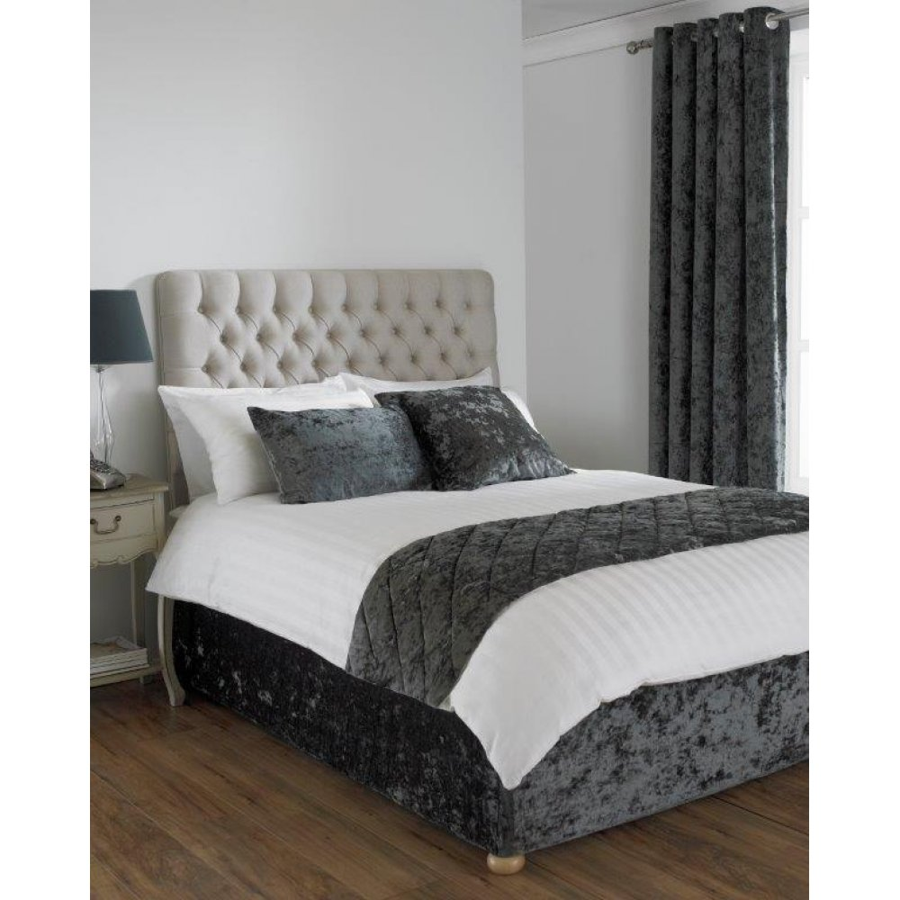 Crushed velvet divan bed base wrap in pewter grey dark grey for Grey divan bed base