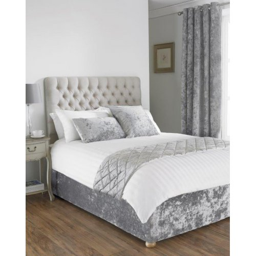 Crushed velvet divan bed base wrap in silver grey silver grey for Divan valance wrap