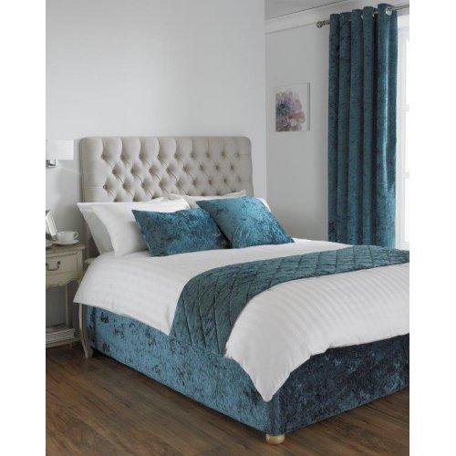 Crushed velvet divan bed base wrap in teal for Divan bed sheet