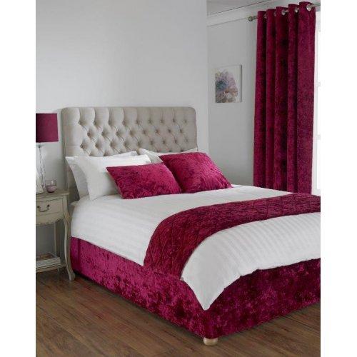 Crushed velvet divan bed base wrap in wine for Divan bed sheet