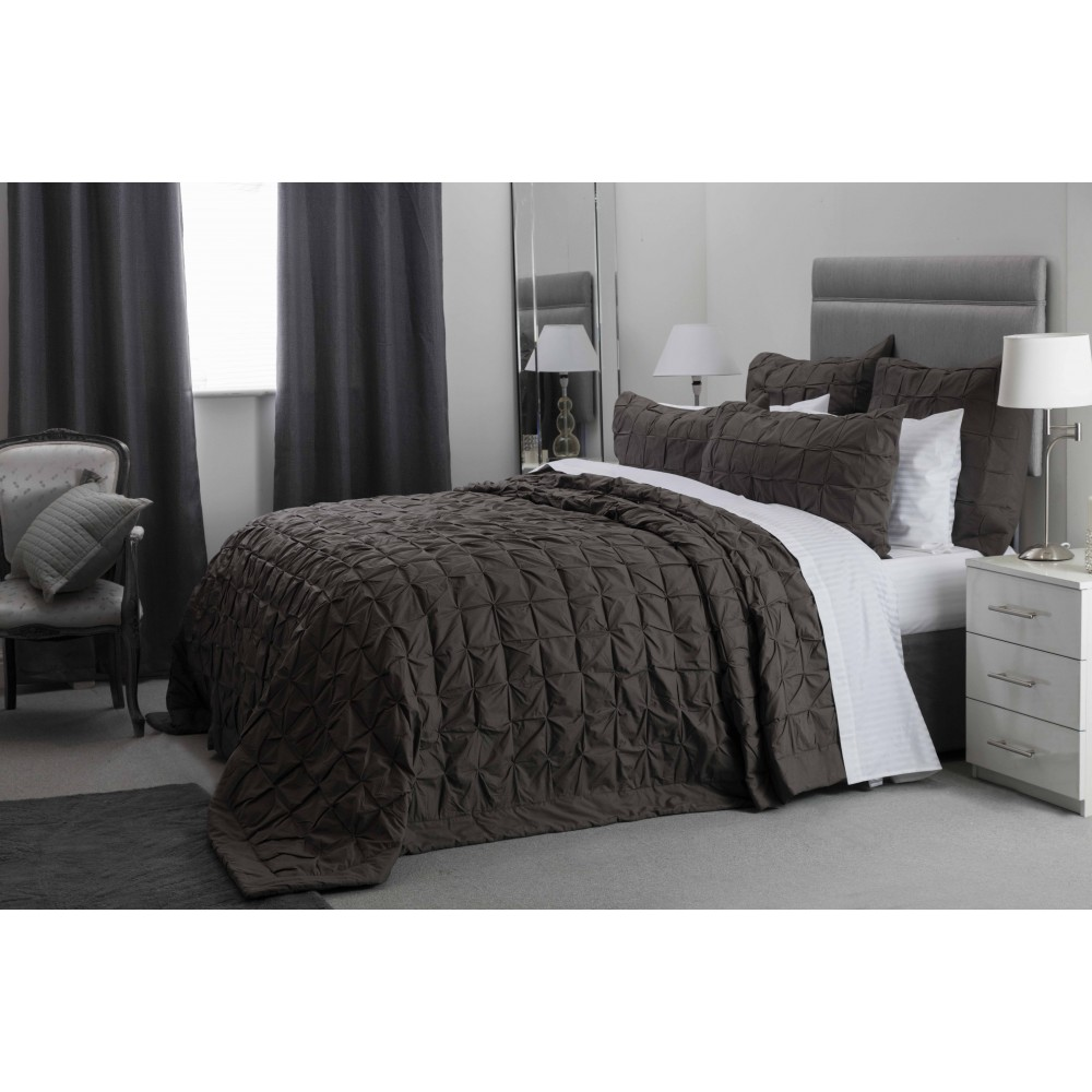 100% Cotton Bedspread in Charcoal Grey 260cm x 260cm